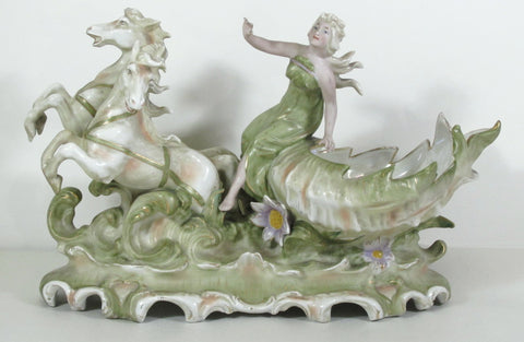 Porcelain Center Bowl w/Venus Riding Seashell Pulled by 2 Horses