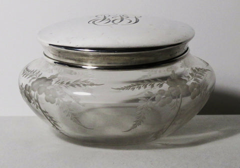 Hawkes Vanity Jar w/Sterling Top Gravic Satin Engraved 4-in. Dia.