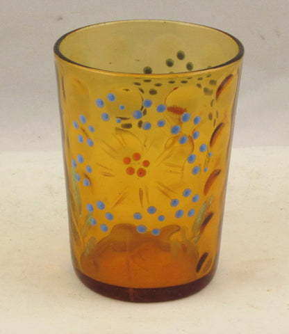 Amber Glass Reverse Thumbprint Tumbler Painted and Enameled