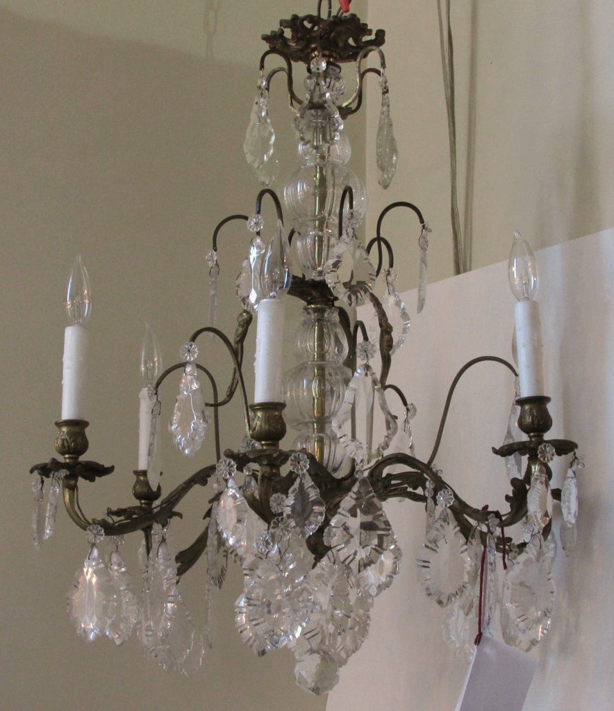 Brass and Crystal 6 Light Chandelier w/Pendalogues C. 1950