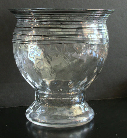 Steuben Threaded Glass Vase Crystal w/Black Threads Optic Effect