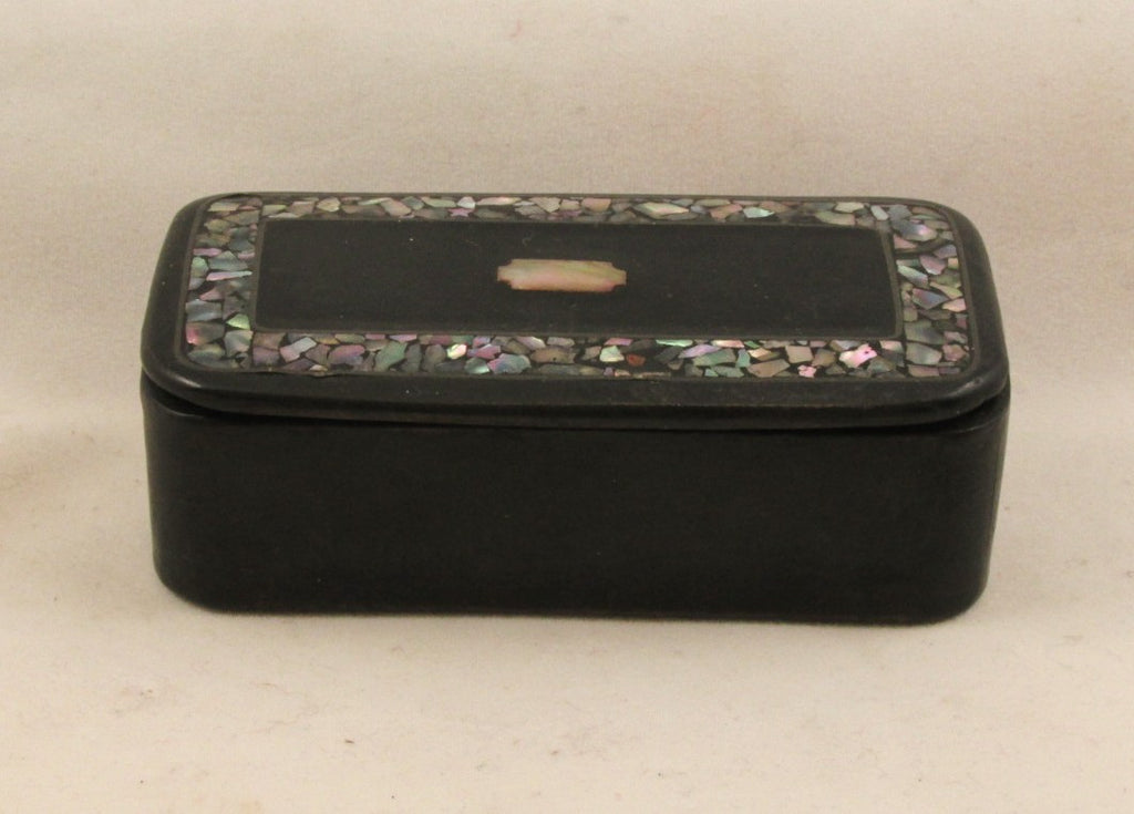 English Snuff Box Papier Mache w/Abelone Shell Inlay C.1900