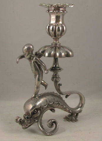 Meriden Silver Co. Silver Plate Cupid & Dolphin Candlestick C 1875