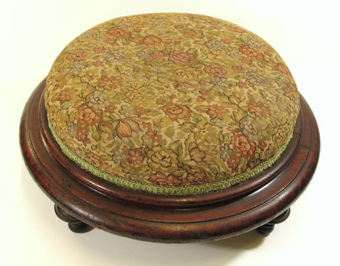 Large Round American Foot Stool Renaissance Revival Period C. 1865