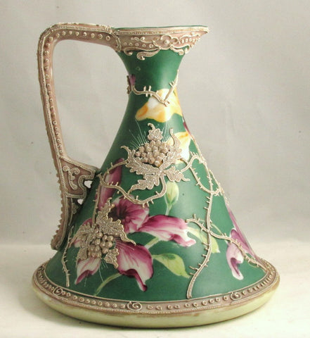 Japanese Moriage Ewer with Hand Painted Iris 8 inches Tall