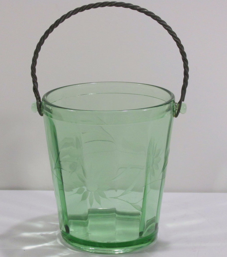 Green Vaseline Glass 12 Panel Ice Bucket Floral Cutting C. 1930