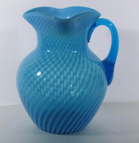 Blue Opalescent Swirl Pitcher Attrib. Beaumont Glass Co.