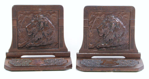 Pair Cast Iron Bookends Recumbent Lion's Head H.L. Judd Co.