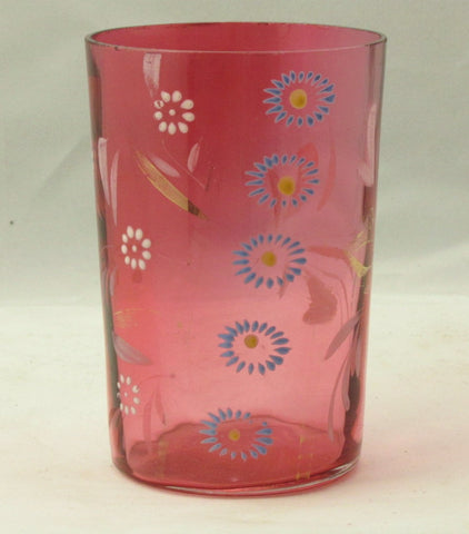 Cranberry Tumbler w/Painted and Enameled Floral Decoration