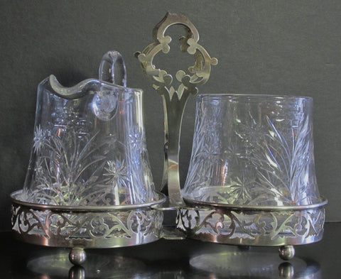 American Crystal Sugar Bowl and Creamer in Sterling Caddy C. 1930