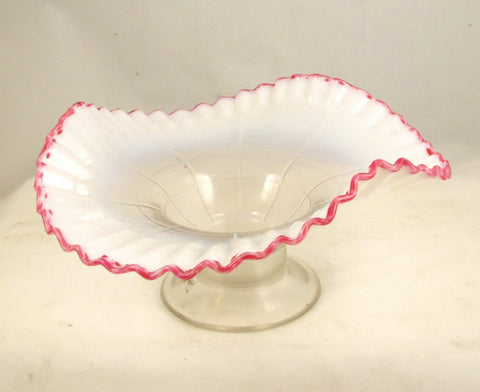 Jefferson Glass Co. Raised Bowl White Opalescent Threaded Block