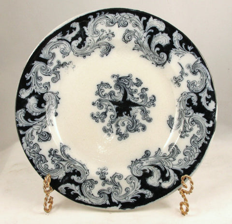 Flow Blue 9 in. Dinner Plate Bell and Co. Glasgow Pattern No. 1000