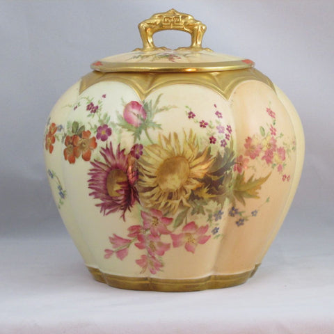 A Royal Worcester Biscuit Barrel Hand Painted on Bone China