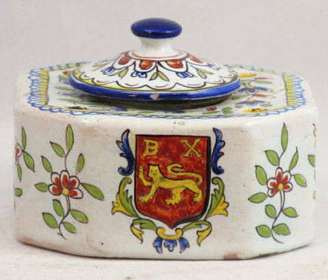 French Hand Painted Faience Inkwell and Quill Holder