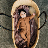Camel Ribbed Footed Onesie