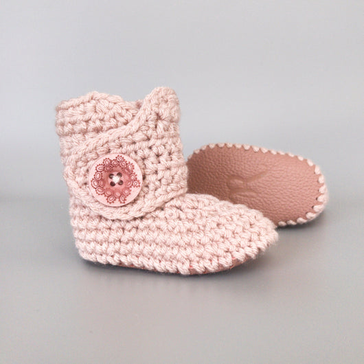 Dusty Pink - Baby Shoes Handmade by Raspberriez