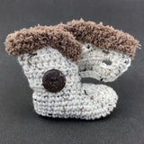 Brown Sugar Oatmeal with Fur - Baby Shoes Handmade by Raspberriez