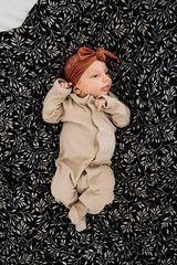 Sand Ribbed Footed Onesie