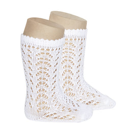 White Crochet Knee Highs - Baby Shoes Handmade by Raspberriez