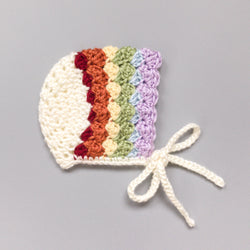 Rainbow Bonnet - Baby Shoes Handmade by Raspberriez