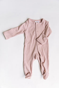 Baby Pink Ribbed Footed Onesie