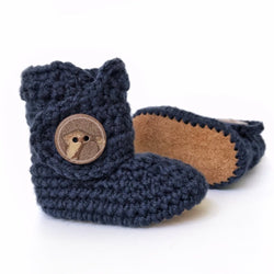 Navy - Baby Shoes Handmade by Raspberriez