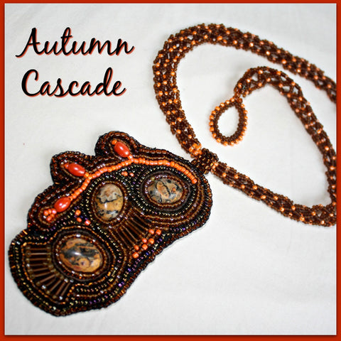 Autumn Cascade Necklace with Leopard Skin Jasper