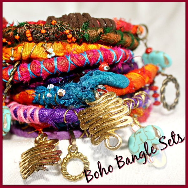 Colorful Boho Bangles - Set of three- Five sets to choose from