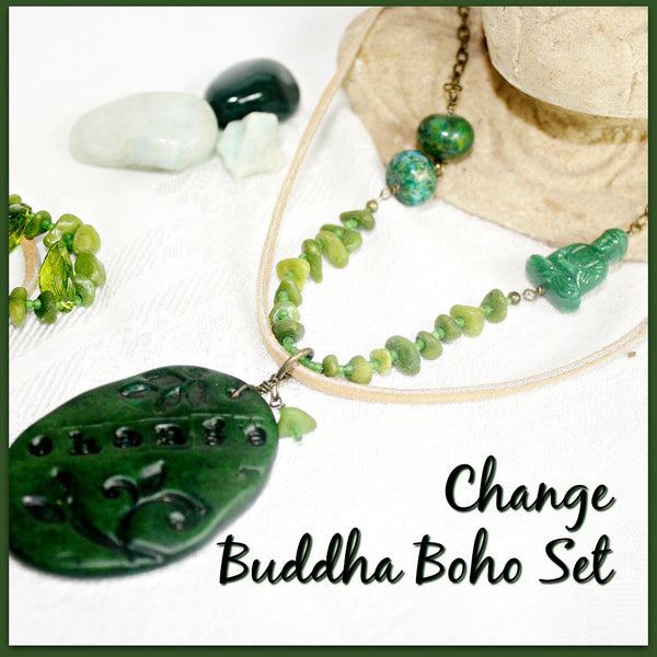 Buddha Change Mixed Media Boho Jewelry Set