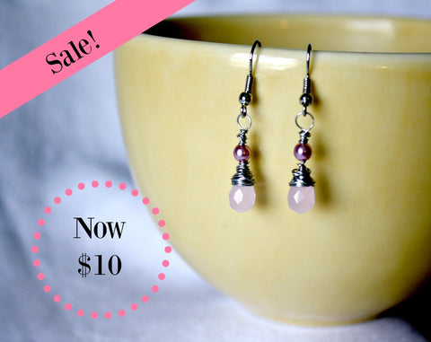 Dainty Drops Wire Wrapped Briolette Earrings
