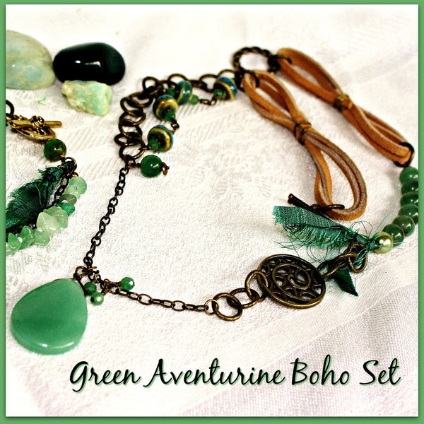 Aventurine Mixed-media Boho Jewelry Set