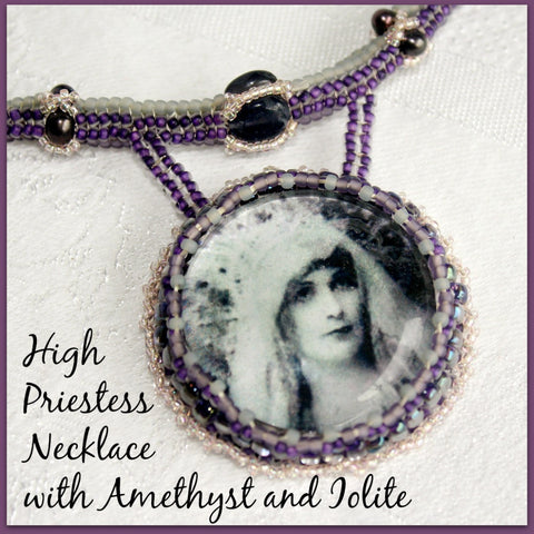 High Priestess Necklace with Amethyst and Iolite