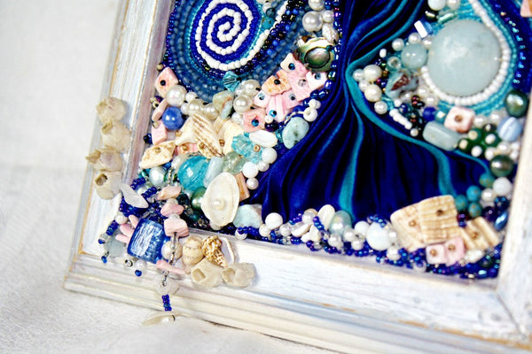 Sea Goddess Bead Embroidered Altar Plaque - Heather's Mystical Haven - 4