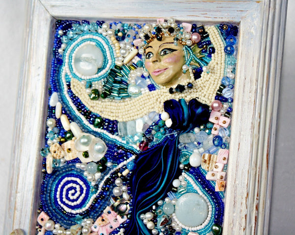 Sea Goddess Bead Embroidered Altar Plaque - Heather's Mystical Haven - 5