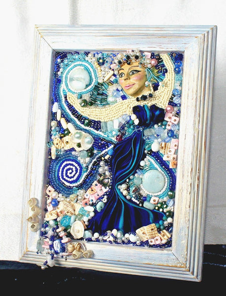 Sea Goddess Bead Embroidered Altar Plaque - Heather's Mystical Haven - 3