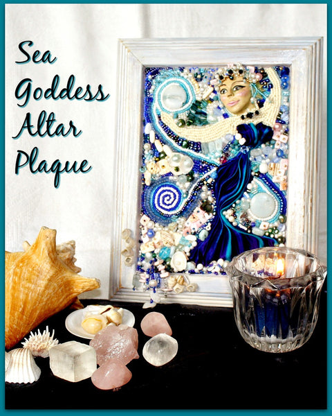 Sea Goddess Bead Embroidered Altar Plaque - Heather's Mystical Haven - 2