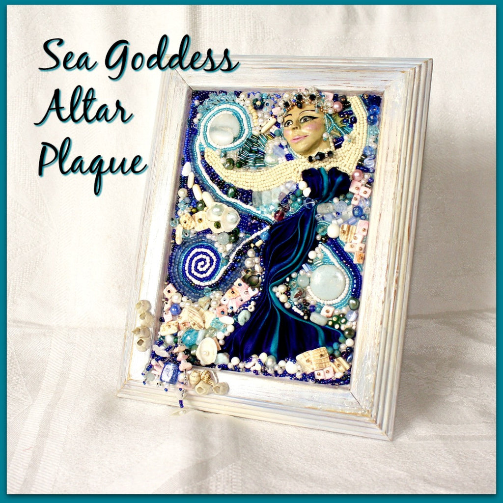 Sea Goddess Bead Embroidered Altar Plaque - Heather's Mystical Haven - 1
