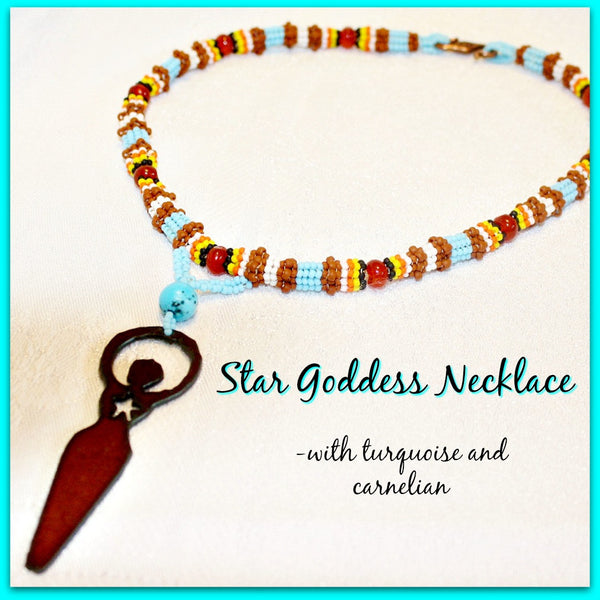 Star Goddess Turquoise and Carnelian Necklace - Heather's Mystical Haven - 1