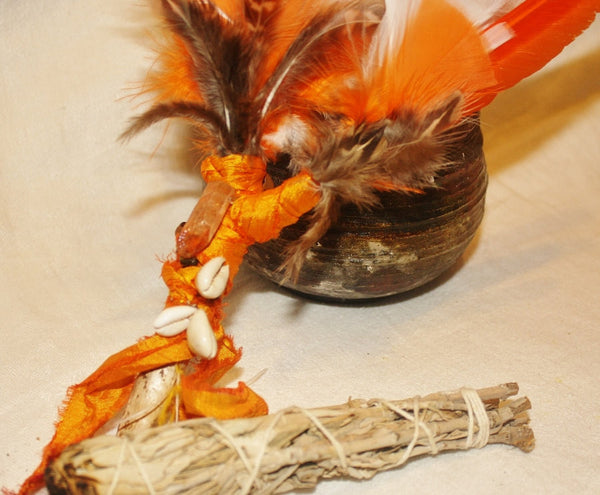 Orange Feather Smudge Fan - Heather's Mystical Haven - 2