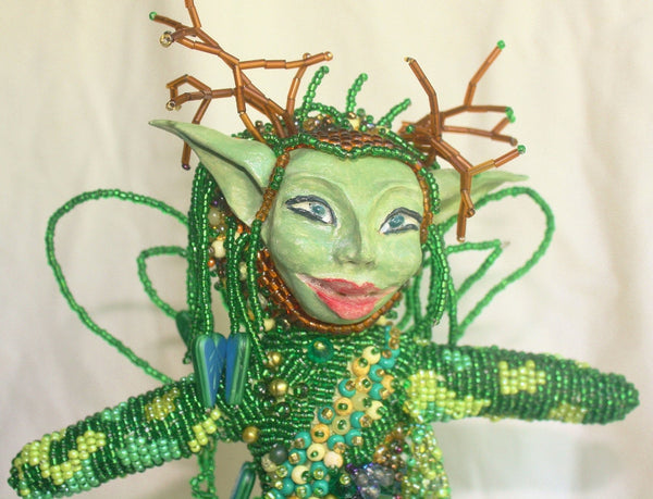 Woodland Fairy - Beaded Art Doll - Heather's Mystical Haven - 2