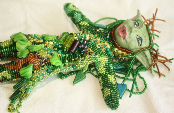 Woodland Fairy - Beaded Art Doll - Heather's Mystical Haven - 5