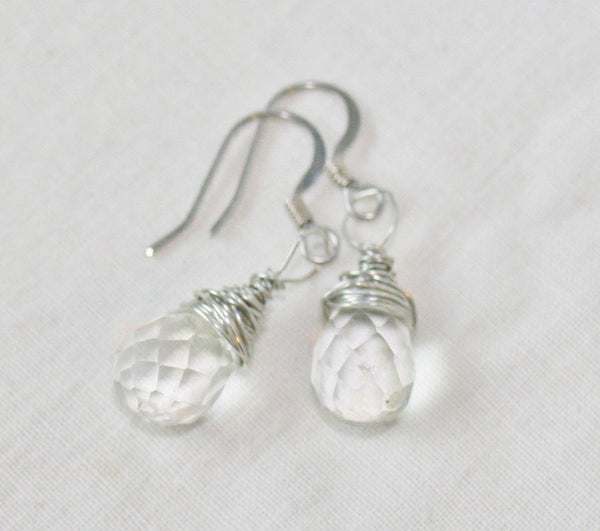 Faceted Quartz Crystal Drop Wire Wrapped Earrings - Heather's Mystical Haven - 2