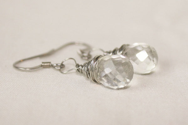 Faceted Quartz Crystal Drop Wire Wrapped Earrings - Heather's Mystical Haven - 3
