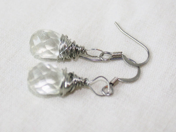 Faceted Quartz Crystal Drop Wire Wrapped Earrings - Heather's Mystical Haven - 1