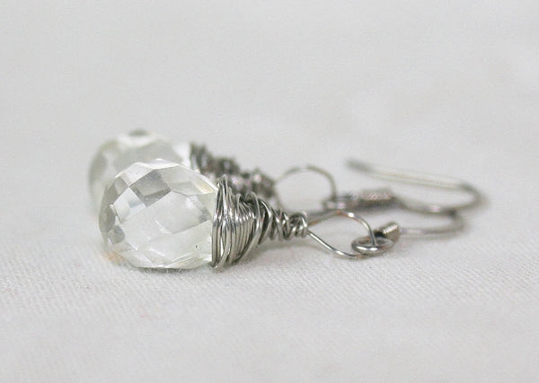 Faceted Quartz Crystal Drop Wire Wrapped Earrings - Heather's Mystical Haven - 4
