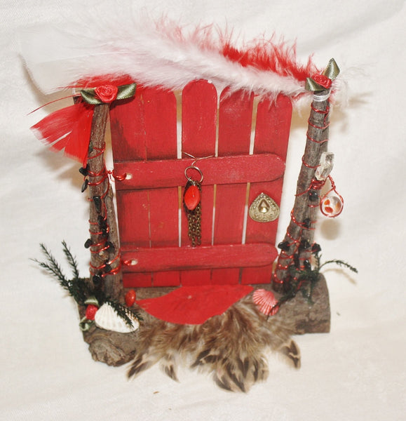 Red Fairy Door with Black Tourmaline Chips - Heather's Mystical Haven - 1