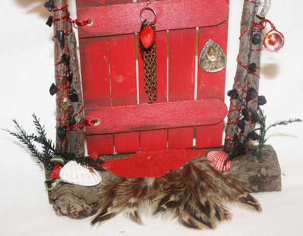 Red Fairy Door with Black Tourmaline Chips - Heather's Mystical Haven - 3