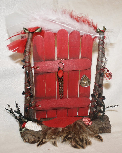 Red Fairy Door with Black Tourmaline Chips - Heather's Mystical Haven - 2