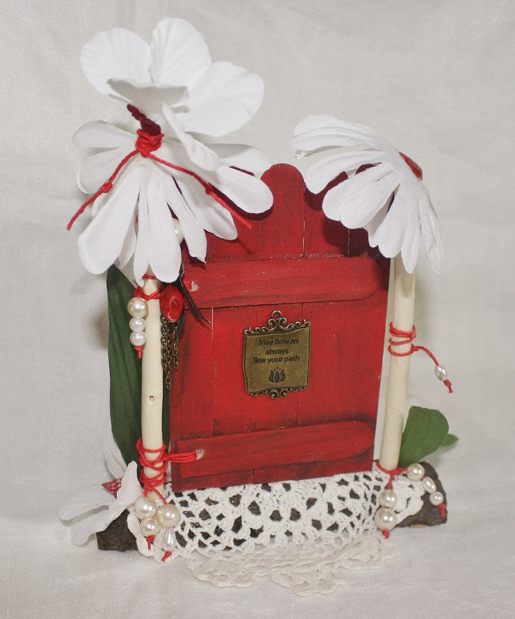 Pearls and Lace Red Fairy Door - Heather's Mystical Haven - 1