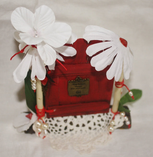Pearls and Lace Red Fairy Door - Heather's Mystical Haven - 2